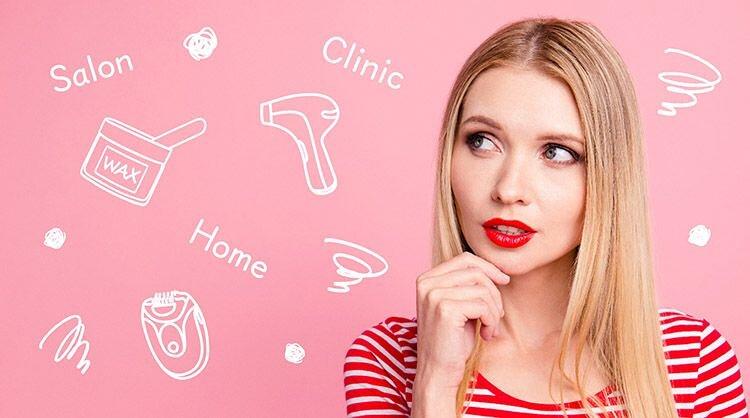 ムダ毛の処理方法で迷っている女性の画像