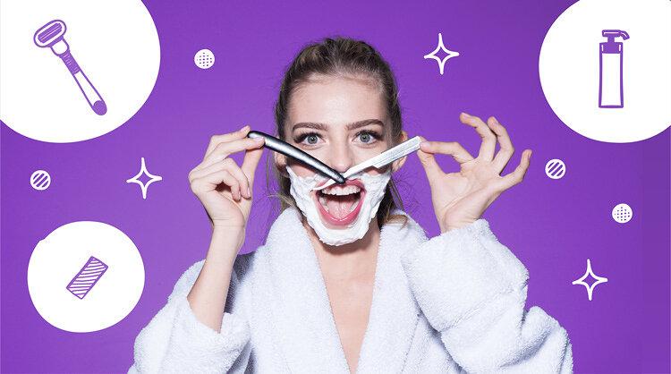 かみそりを鼻に当てている女性の画像