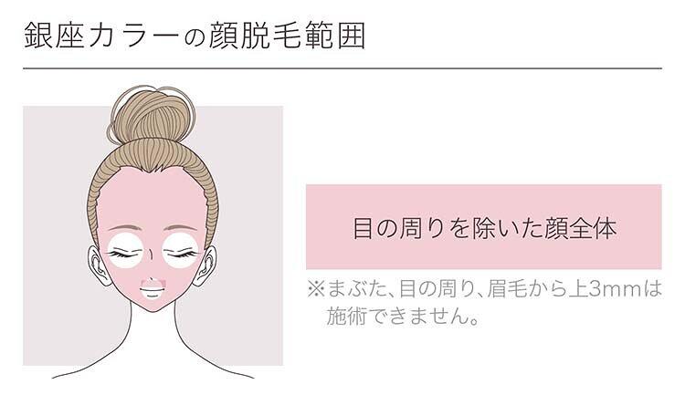 銀座カラーの顔脱毛範囲の画像