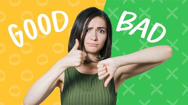 グッドとバッドを比較する女性の画像