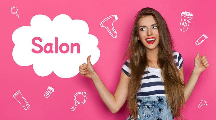 脱毛サロンを紹介する女性の画像